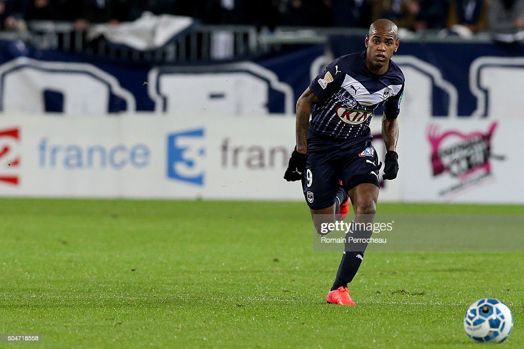 Diego Rolan for Bordeaux in action during the French League Cup quarter final between Bordeaux and Lorient at Stade Matmut Atlantique on January 12, 2016 in Bordeaux, France.