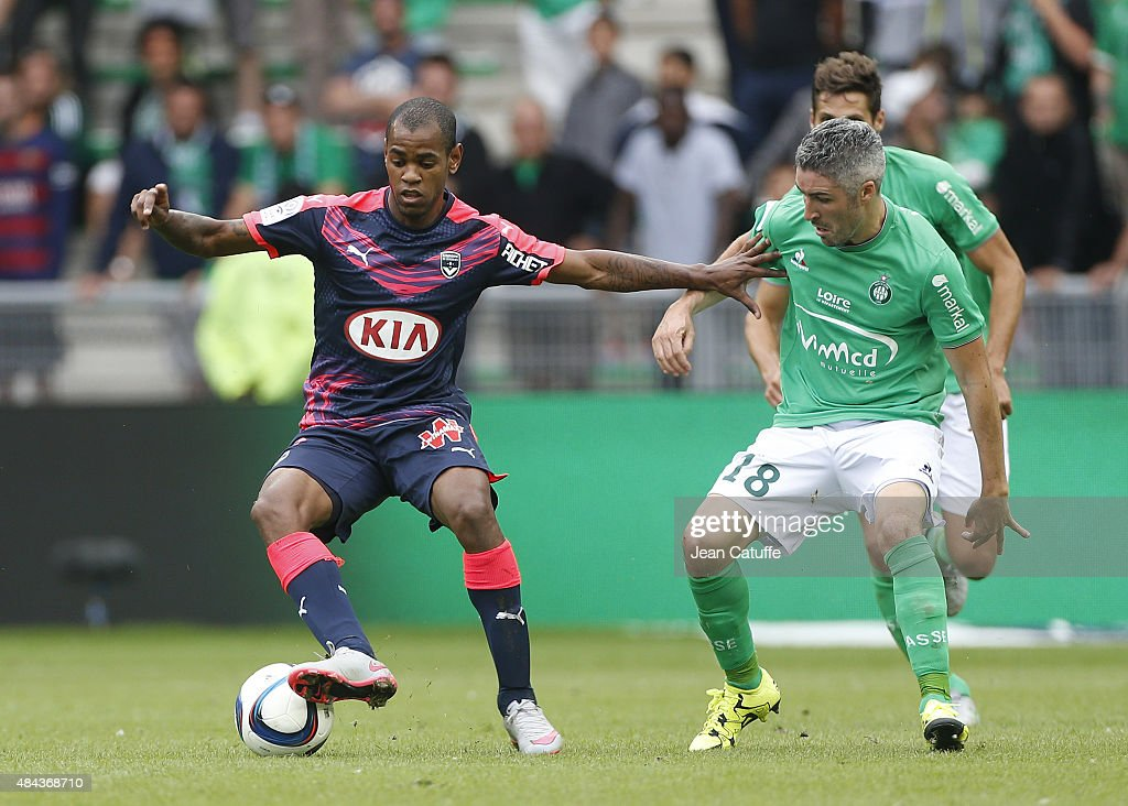 Diego Rolan of Bordeaux and <a gi-track='captionPersonalityLinkClicked' href=/galleries/search?phrase=Fabien+Lemoine&family=editorial&specificpeople=4784581 ng-click='$event.stopPropagation()'>Fabien Lemoine</a> of Saint-Etienne in action during the French Ligue 1 match between AS Saint-Etienne (ASSE) and FC Girondins de Bordeaux at Stade Geoffroy-Guichard on August 15, 2015 in Saint-Etienne, France.