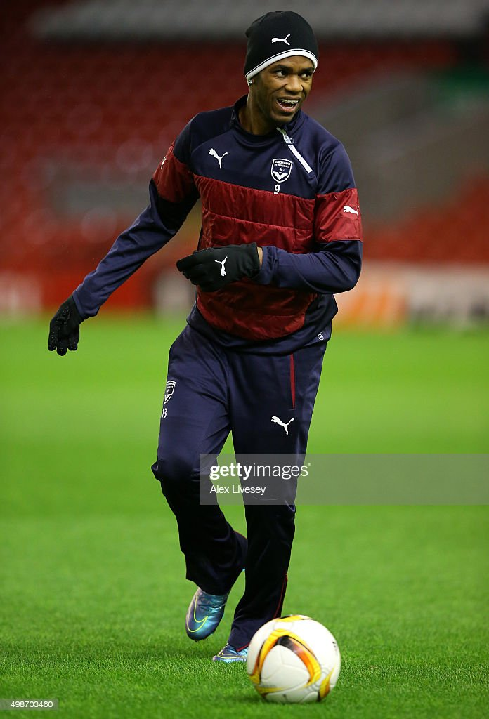 Diego Rolan of FC Girondins de Bordeaux controls the ball during a training session at Anfield on November 25, 2015 in Liverpool, United Kingdom.