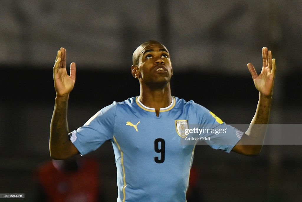 Diego Rolan of Uruguay celebrates after scoring the second goal during a match between Uruguay and Colombia as part of FIFA 2018 World Cup Qualifier at Centenario Stadium on October 13, 2015 in Montevideo, Uruguay.