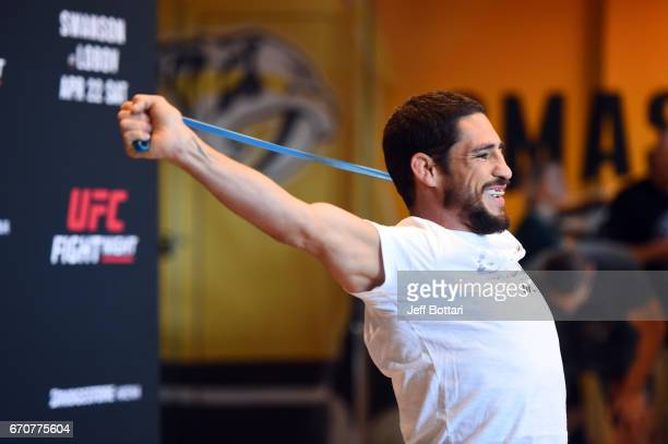 Diego Sanchez holds an open workout for fans and media at the Bridgestone Arena Atrium on April 20 2017 in Nashville Tennessee