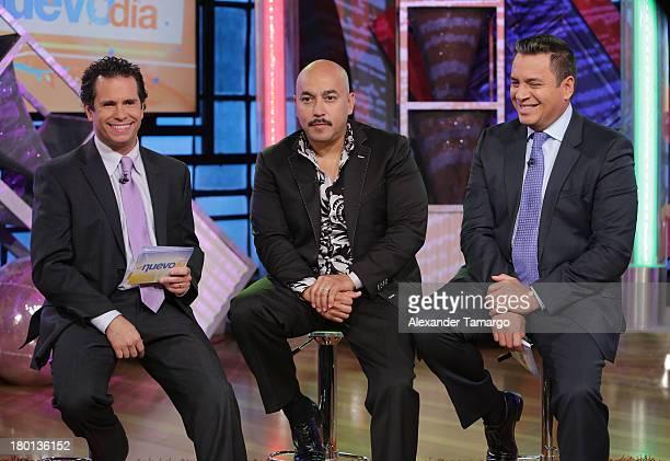 Diego Schoening Lupillo Rivera and Daniel Sarcos are seen on the set of Telemundo's 'Un Nuevo Dia' at Telemundo Studio on September 9 2013 in Miami...