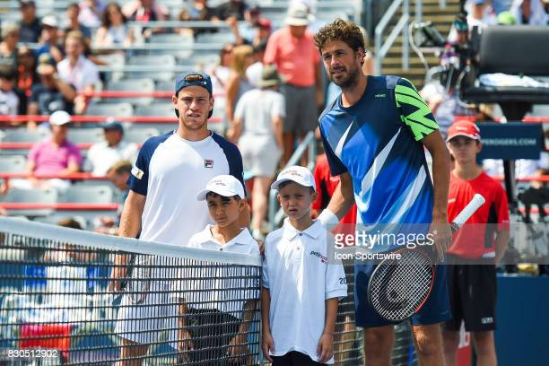 Diego Schwartzman and Robin Haase at players presentation before their quarterfinal match at ATP Coupe Rogers on August 11 at Uniprix Stadium in...