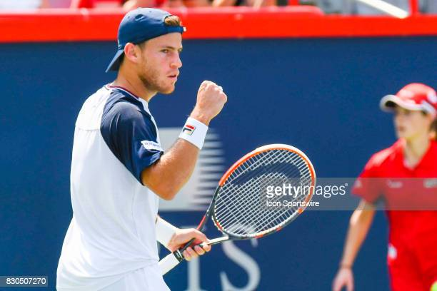 Diego Schwartzman happy after scoring a point during his quarterfinal match at ATP Coupe Rogers on August 11 at Uniprix Stadium in Montreal QC