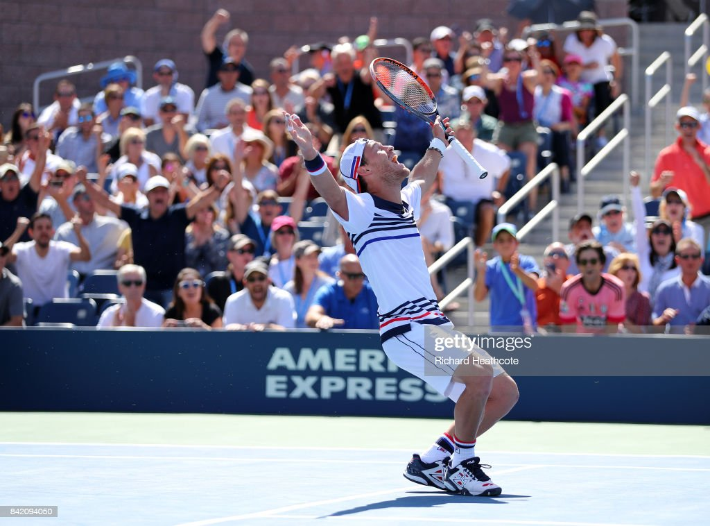 Diego Schwartzman of Argentina celebrates his third round victory over Marin Cilic of Croatia on Day Five of the 2017 US Open at the USTA Billie Jean King National Tennis Center on September 1, 2017 in the Flushing neighborhood of the Queens borough of New York City.