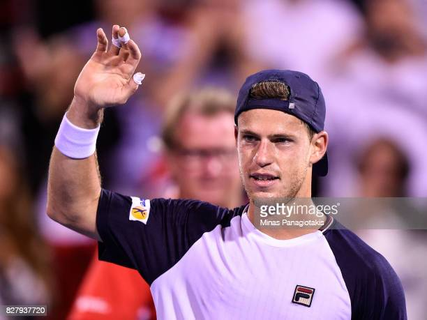 Diego Schwartzman of Argentina celebrates his victory over Dominic Thiem of Austria during day five of the Rogers Cup presented by National Bank at...