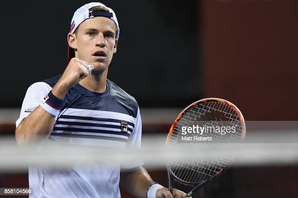 Diego Schwartzman of Argentina celebrates in his quarterfinal match against Steve Johnson of the USA during day five of the Rakuten Open at Ariake...