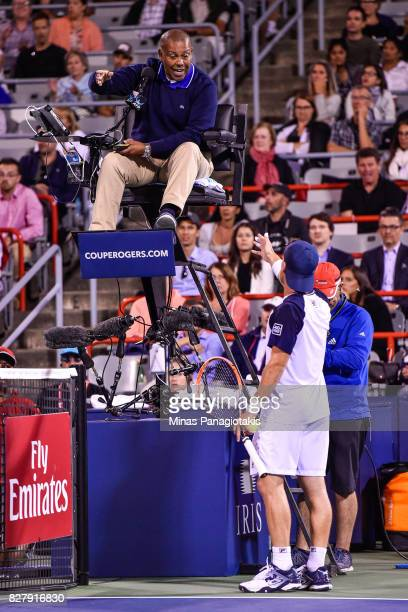 Diego Schwartzman of Argentina challenges umpire Carlos Bernardes against Dominic Thiem of Austria during day five of the Rogers Cup presented by...