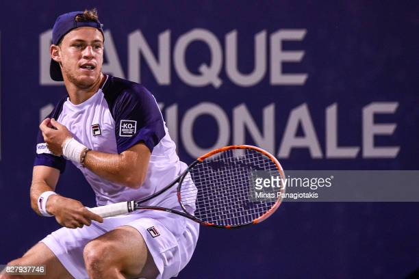 Diego Schwartzman of Argentina hits a return against Dominic Thiem of Austria during day five of the Rogers Cup presented by National Bank at Uniprix...