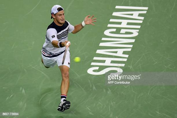 Diego Schwartzman of Argentina hits a return during his men's 2nd round singles match against Roger Federer of Switzerland at the Shanghai Masters...