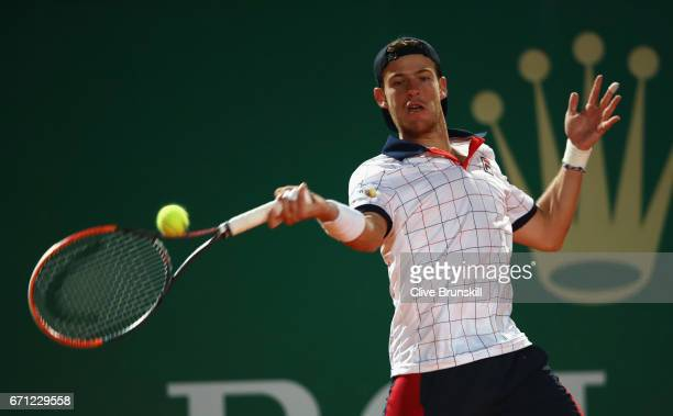 Diego Schwartzman of Argentina plays a forehand against Rafael Nadal of Spain in their quarter final round match on day six of the Monte Carlo Rolex...