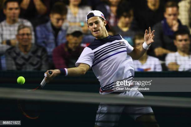 Diego Schwartzman of Argentina plays a forehand against Viktor Troicki of Serbia during Day 2 of the Rolex Paris Masters held at the AccorHotels...
