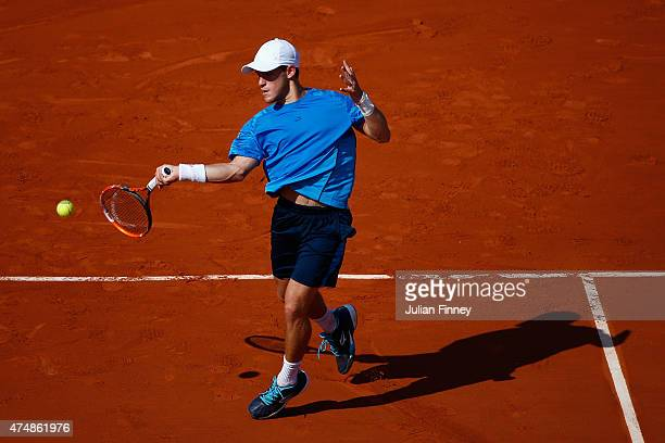 Diego Schwartzman of Argentina plays a forehand during the men's singles match against Gael Monfils of France during day four of the 2015 French Open...