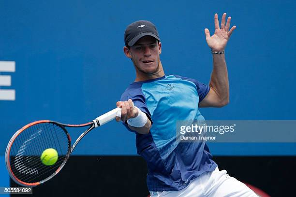 Diego Schwartzman of Argentina plays a forehand in his first round match against John Millman of Australia during day two of the 2016 Australian Open...