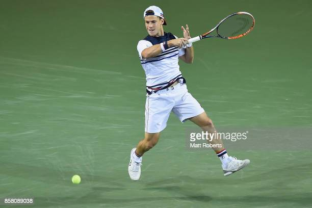 Diego Schwartzman of Argentina plays a forehand in his quarterfinal match against Steve Johnson of the USA during day five of the Rakuten Open at...