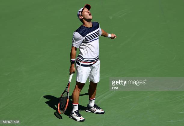 Diego Schwartzman of Argentina reacts against Pablo Carreno Busta of Spain during his Men's Singles Quarterfinal match on Day Nine of the 2017 US...