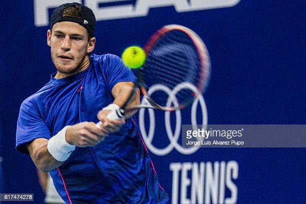 Diego Schwartzman of Argentina returns a shot against Richard Gasquet of France during the Men's singles Finals match of the European Open at Lotto...