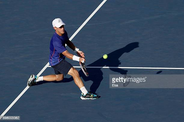 Diego Schwartzman of Argentina returns a shot to Juan Martin del Potro of Argentina during his first round Men's Singles match on Day Two of the 2016...