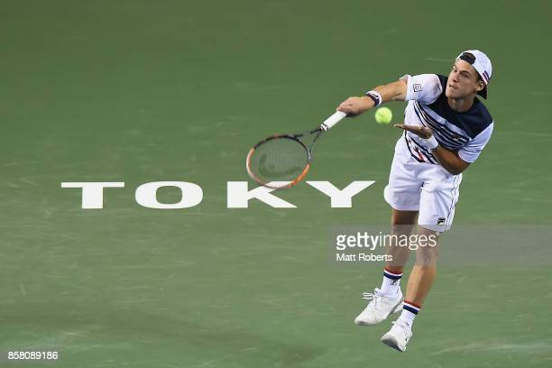 Diego Schwartzman of Argentina serves in his quarterfinal match against Steve Johnson of the USA during day five of the Rakuten Open at Ariake...