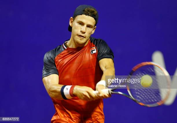 Diego Schwartzman of Argentina takes a backhand shot during a second round match between Kei Nishikori of Japan and Diego Schwartzman of Argentina as...