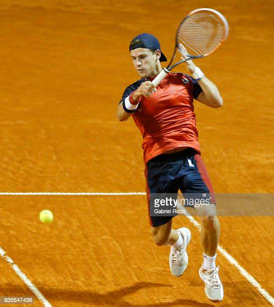 Diego Schwartzman of Argentina takes a forehand shot during a second round match between Kei Nishikori of Japan and Diego Schwartzman of Argentina as...