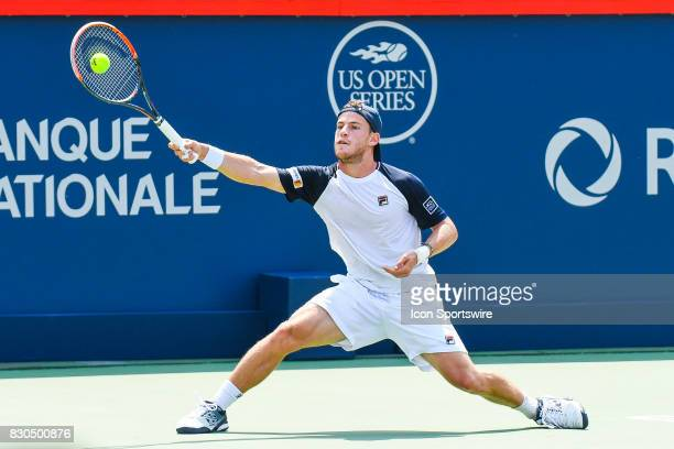 Diego Schwartzman returns the ball during his quarterfinal match at ATP Coupe Rogers on August 11 at Uniprix Stadium in Montreal QC