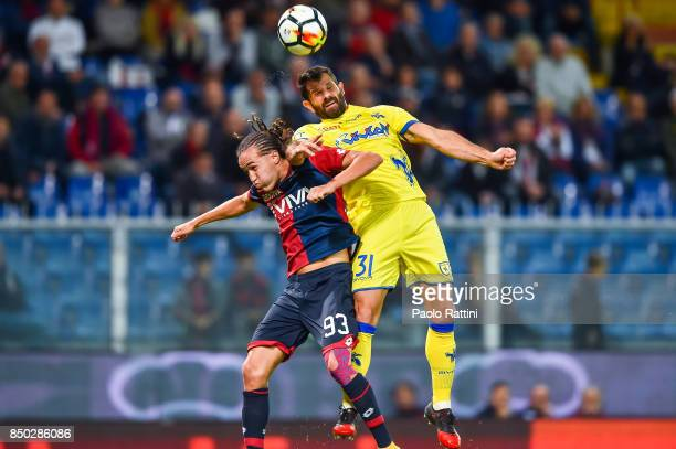Diego Sebastian Laxalt of Genoa and Sergio Pellissier of Chievo Verona during the Serie A match between Genoa CFC and AC Chievo Verona at Stadio...