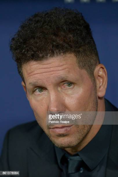 Diego Simeone coach od Atletico de Madrid looks on during a match between Atletico Madrid and Barcelona as part of La Liga at Wanda Metropolitano...