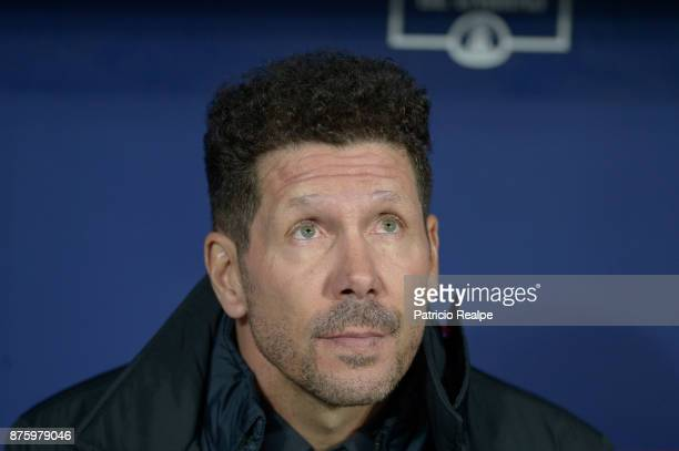 Diego Simeone coach of Atletico de Madrid looks on before the match between Atletico Madrid and Real Madrid as part of La Liga at Wanda Metropolitano...