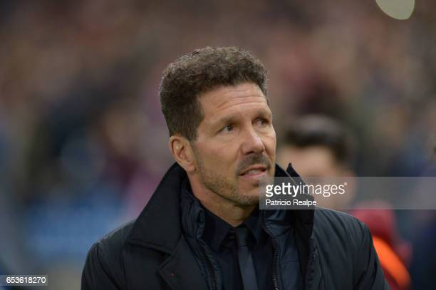 Diego Simeone Coach of Atletico de Madrid looks on orior to the UEFA Champions League Round of 16 second leg match between Atletico Madrid and Bayer...