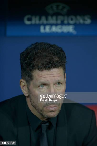 Diego Simeone coach of Atletico de Madrid looks on prior a match between Atletico Madrid and Qarabag FK as part of the UEFA Champions League at Wanda...