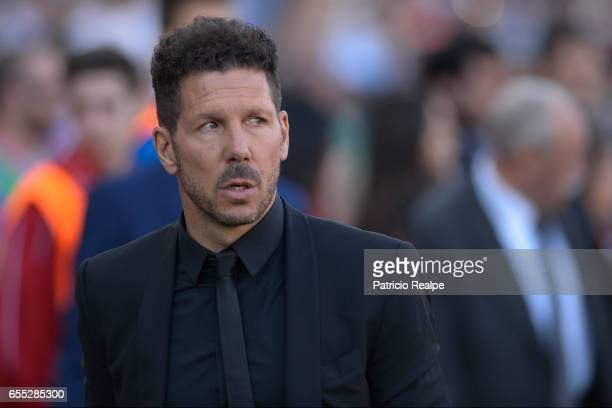 Diego Simeone coach of Atletico de Madrid looks on prior the La Liga match between Club Atletico de Madrid and Sevilla FC at Vicente Calderon Stadium...
