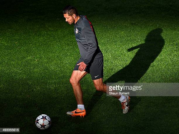 Diego Simeone Coach of Club Atletico de Madrid on the ball during a Club Atletico de Madrid training session ahead of the UEFA Champions League Final...