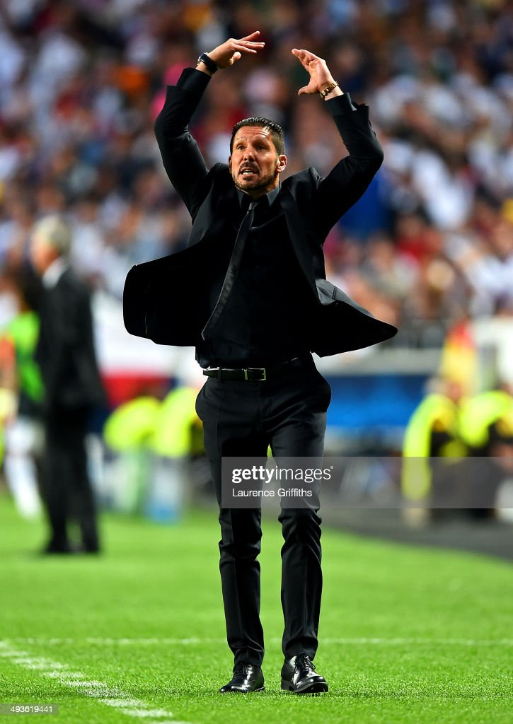 <a gi-track='captionPersonalityLinkClicked' href=/galleries/search?phrase=Diego+Simeone&family=editorial&specificpeople=226872 ng-click='$event.stopPropagation()'>Diego Simeone</a>, Coach of Club Atletico de Madrid reacts during the UEFA Champions League Final between Real Madrid and Atletico de Madrid at Estadio da Luz on May 24, 2014 in Lisbon, Portugal.