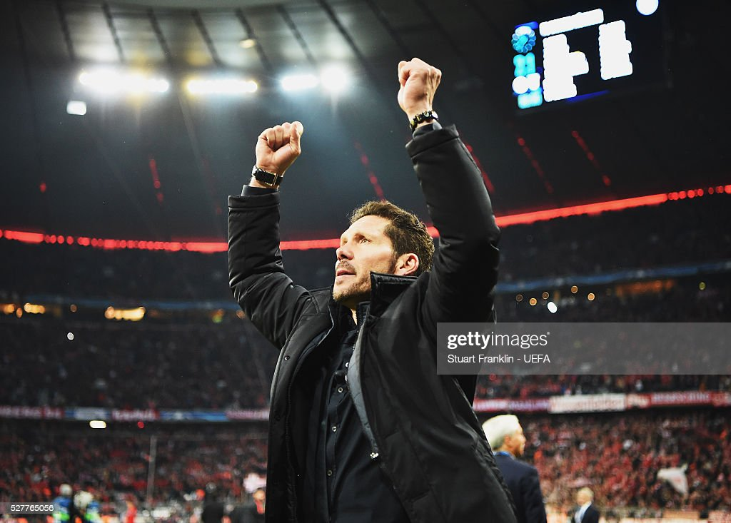 Diego Simeone, head coach of Athletico Madrid celebrates at the final whistle during the UEFA Champions League Semi Final second leg match between FC Bayern Muenchen and Club Atletico de Madrid at the Allianz Arena on May 03, 2016 in Munich, Bavaria.