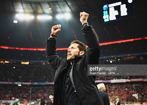 Diego Simeone head coach of Athletico Madrid celebrates at the final whistle during the UEFA Champions League Semi Final second leg match between FC...