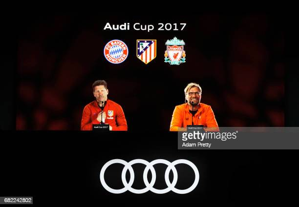 Diego Simeone head coach of Atletico de Madrid and Juergen Klopp head coach of Liverpool FC speak to the media during the Audi Cup 2017 HologramPress...