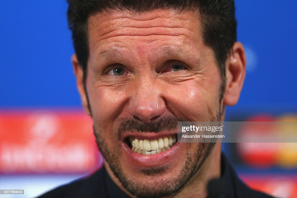 <a gi-track='captionPersonalityLinkClicked' href=/galleries/search?phrase=Diego+Simeone&family=editorial&specificpeople=226872 ng-click='$event.stopPropagation()'>Diego Simeone</a>, head coach of Atletico looks on during a press conference after the UEFA Champions League semi final second leg match between FC Bayern Muenchen and Club Atletico de Madrid at Allianz Arena on May 3, 2016 in Munich, Germany.