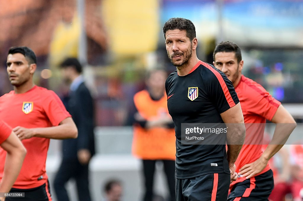 Diego Simeone head coach of Atletico Madrid during the training session ahead the UEFA Champions League Final between Real Madrid and Atletico Madrid Atletico Madrid at Stadio San Siro, Milan, Italy on 27 May 2016