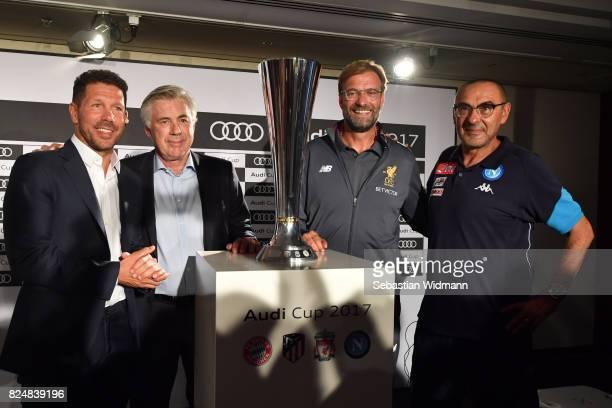 Diego Simeone head coach of Atletico Madrid head coach Carlo Ancelotti of FC Bayern Muenchen Juergen Klopp head coach of Liverpool and Maurizio Sarri...