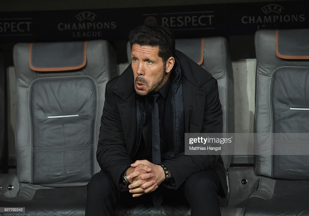 <a gi-track='captionPersonalityLinkClicked' href=/galleries/search?phrase=Diego+Simeone&family=editorial&specificpeople=226872 ng-click='$event.stopPropagation()'>Diego Simeone</a> head coach of Atletico Madrid looks on prior to the UEFA Champions League semi final second leg match between FC Bayern Muenchen and Club Atletico de Madrid at Allianz Arena on May 3, 2016 in Munich, Germany.