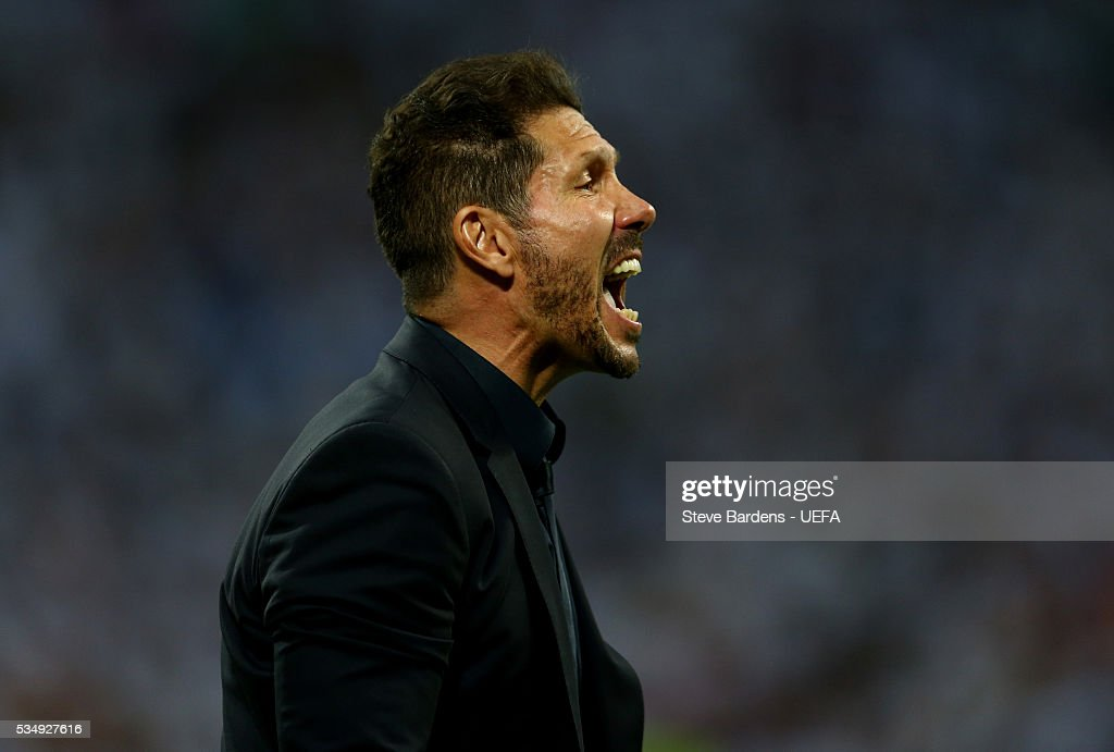 <a gi-track='captionPersonalityLinkClicked' href=/galleries/search?phrase=Diego+Simeone&family=editorial&specificpeople=226872 ng-click='$event.stopPropagation()'>Diego Simeone</a> head coach of Atletico Madrid reacts during the UEFA Champions League Final between Real Madrid and Club Atletico de Madrid at Stadio Giuseppe Meazza on May 28, 2016 in Milan, Italy.