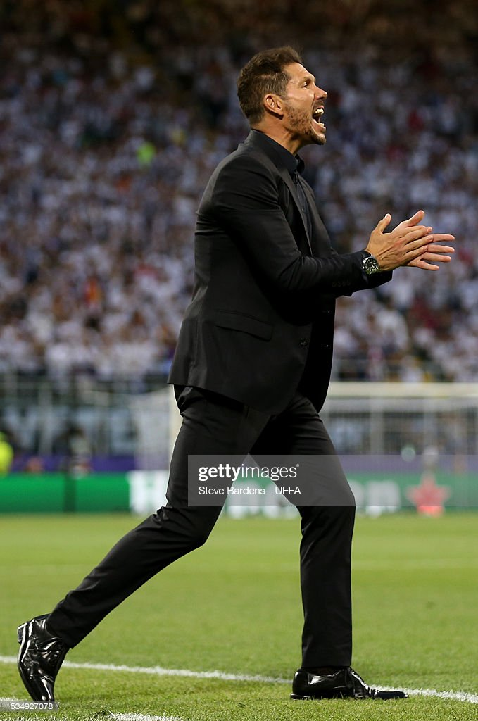 <a gi-track='captionPersonalityLinkClicked' href=/galleries/search?phrase=Diego+Simeone&family=editorial&specificpeople=226872 ng-click='$event.stopPropagation()'>Diego Simeone</a> head coach of Atletico Madrid reacts the UEFA Champions League Final between Real Madrid and Club Atletico de Madrid at Stadio Giuseppe Meazza on May 28, 2016 in Milan, Italy.