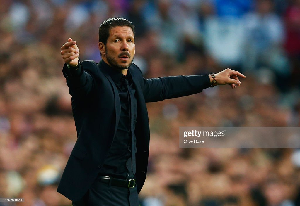 Diego Simeone head coach of Atletico Madrid signals during the UEFA Champions League quarter-final second leg match between Real Madrid CF and Club Atletico de Madrid at Bernabeu on April 22, 2015 in Madrid, Spain.