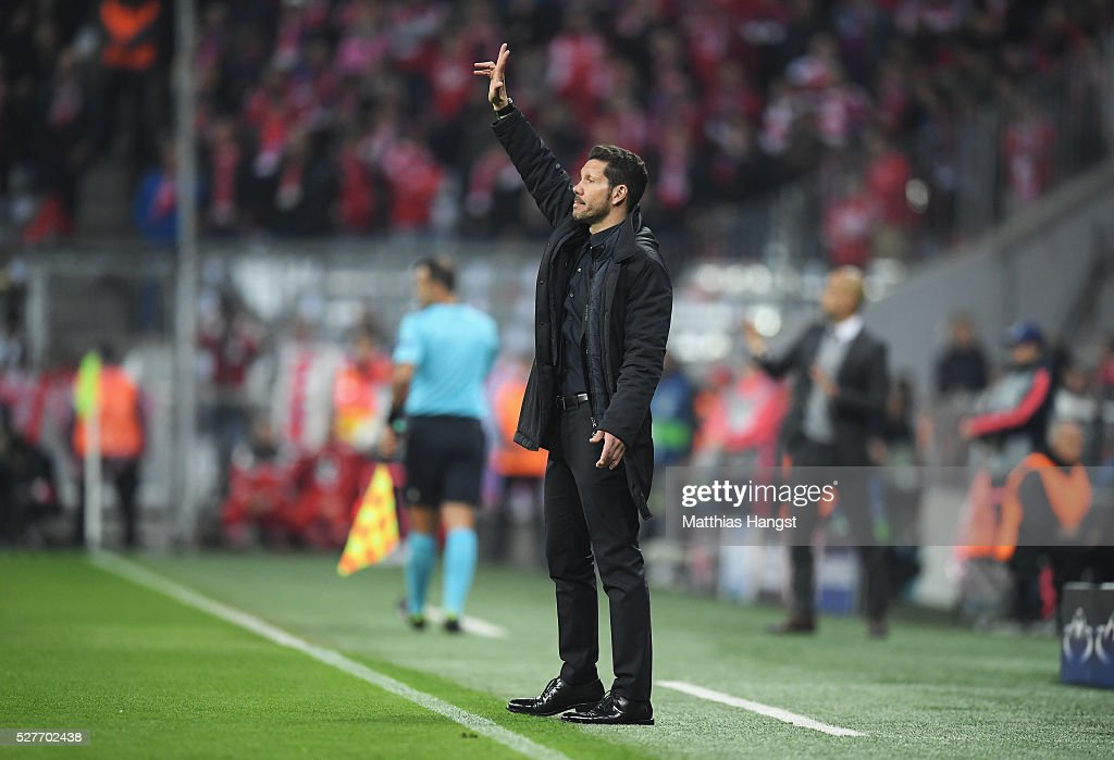 Diego Simeone head coach of Atletico Madrid signals during UEFA Champions League semi final second leg match between FC Bayern Muenchen and Club Atletico de Madrid at Allianz Arena on May 3, 2016 in Munich, Germany.