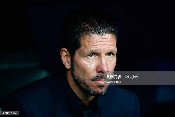 Diego Simeone looks on prior to the UEFA Champions League quarterfinal second leg match between Real Madrid CF and Club Atletico de Madrid at...