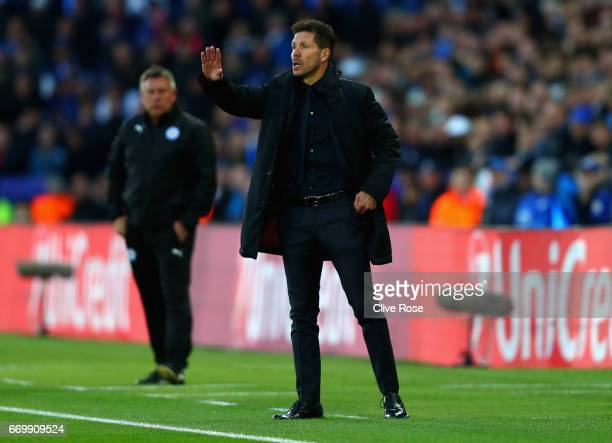 Diego Simeone Manager of Atletico Madrid gives his team instructions during the UEFA Champions League Quarter Final second leg match between...
