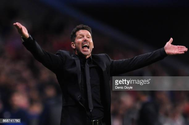 Diego Simeone Manager of Atletico Madrid reacts during the UEFA Champions League group C match between Atletico Madrid and Qarabag FK at Estadio...