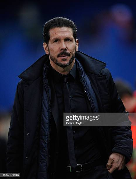 Diego Simeone manager of Club Atletico de Madrid looks on during the La Liga match between Club Atletico de Madrid and Real CD Espanyol at Vicente...
