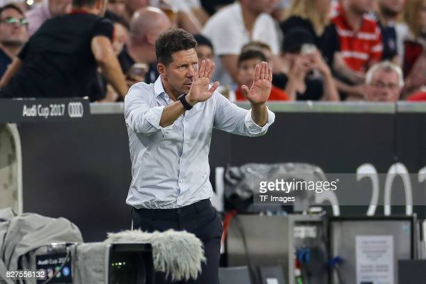 Diego Simeone of Atletico Madrid gestures during the Audi Cup 2017 match between Liverpool FC and Atletico Madrid at Allianz Arena on August 2 2017...